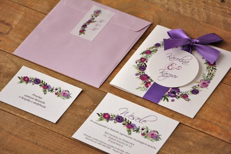 Zaproszenie ślubne z bilecikami - Akwarele nr 11- odcienie fioletu