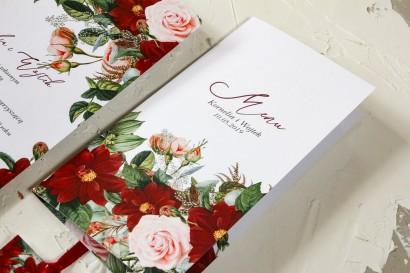 Menu weselne z bordowymi daliami i pastelowymi różami - Wenis nr 3