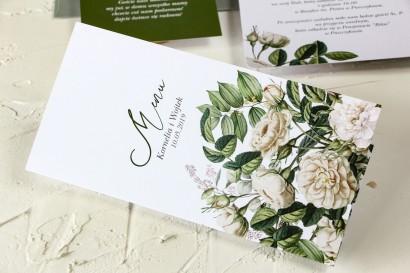 Zielone Menu weselne z białymi różami i delikatnymi zielonymi gałązkami