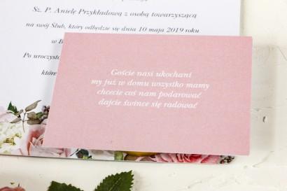 Różowy bilecik do kwiatowych zaproszeń ślubnych Wenis nr 1