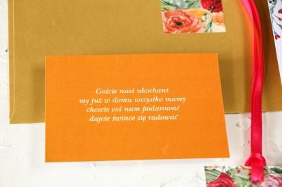 Pomarańczowy bilecik do kwiatowych zaproszeń ślubnych Wenis nr 2