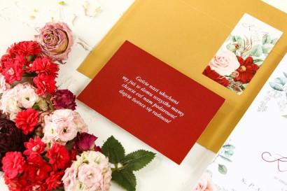 Bordowy bilecik do kwiatowych zaproszeń ślubnych Wenis nr 3