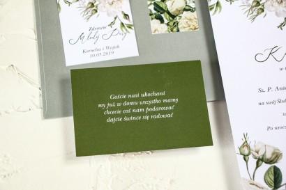 Zielony bilecik do kwiatowych zaproszeń ślubnych Wenis nr 4