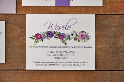 Bilecik do zaproszenia 120 x 98 mm prezenty ślubne wesele - Akwarele nr 11 - Drobne fioletowe kwiaty