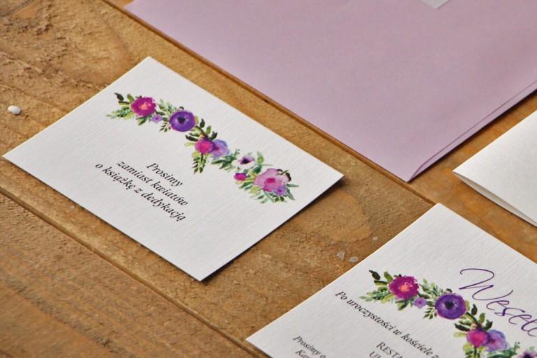 Bilecik do zaproszenia 105 x 74 mm prezenty ślubne wesele - Akwarele nr 11 - Fioletowe drobne kwiaty