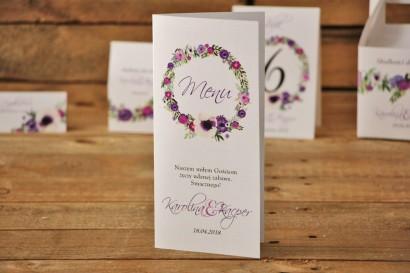 Menu weselne, stół weselny - Akwarele nr 11 - Drobne kwiaty w odcieniach fioletu