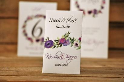 Podziękowania dla Gości weselnych - nasiona Niezapominajki - Akwarele nr 11 - Fioletowe kwiaty