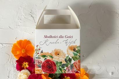 Pudełko na Ciasto Weselne z pomarańczowymi i amarantowymi różami
