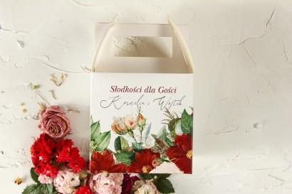 Pudełko na Ciasto Weselne z bordowymi daliami i pastelowymi różami