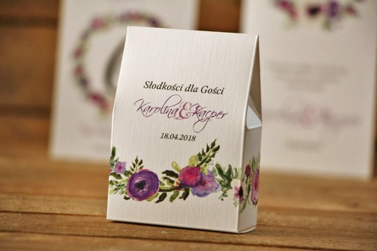 Pudełeczko stojące na cukierki, podziękowania dla Gości weselnych - Akwarele nr 11 - Drobne fioletowe kwiaty