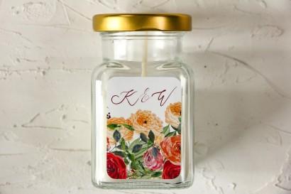 Świeczki - Podziękowania dla gości weselnych, etykieta z pomarańczowymi i amarantowymi różami