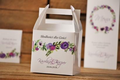 Pudełko na ciasto kwadratowe, tort weselny - Akwarele nr 11 - Drobne kwiaty w barwach fioletu