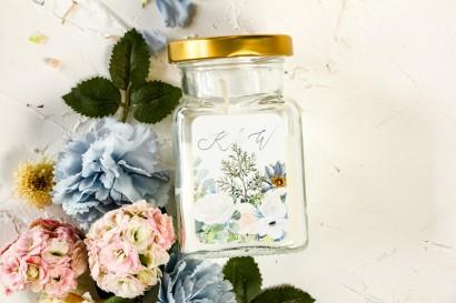 Świeczki - Podziękowania dla gości weselnych, etykieta z delikatnym, pastelowym motywem białych róż