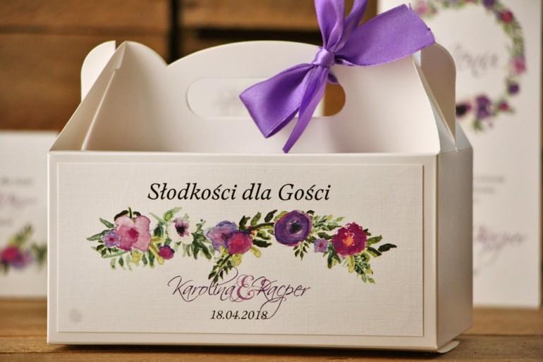 Prostokątne pudełko na ciasto, tort weselny, ślub - Akwarele nr 11 - Drobne kwiaty w odcieniach fioletu