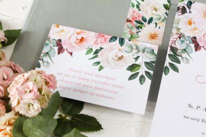 Kwiatowy bilecik do zaproszeń ślubnych Wenis nr 6