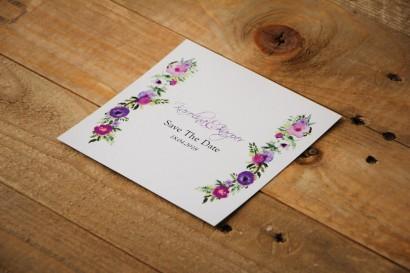 Bilecik Save The Date do zaproszenia - Akwarele nr 11 - Drobne fioletowe kwiatki
