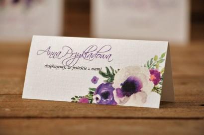 Winietki na stół weselny, ślub - Akwarele nr 11 - Fioletowe kwiaty