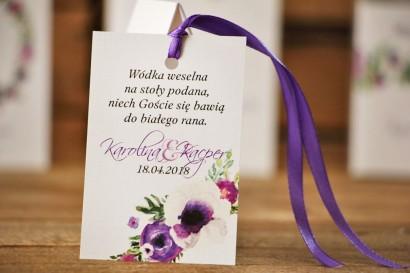 Zawieszka na butelkę, wódka weselna, ślub - Akwarele nr 11 - Fioletowe kwiaty