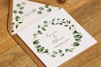 Zaproszenie ślubne, zaproszenia na ślub kwiatowe - Kalia nr 2 - Eukaliptus z ekologiczną kopertą
