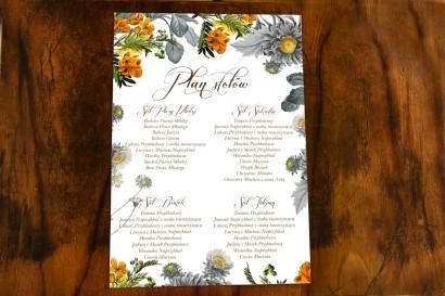 Weselny Plan Stołów w stylu botanicznym z motywem żółtych kwiatów, przełamanych szarością