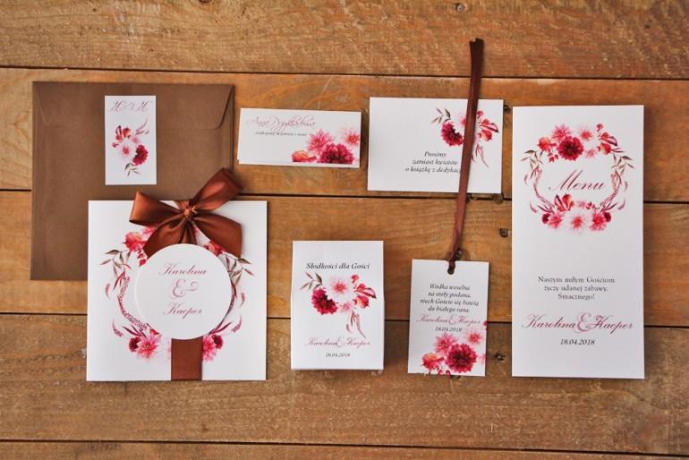 Zestaw próbny zaproszeń wraz z dodatkami i upominkami dla gości weselnych, ślubnych - Akwarele nr 2
