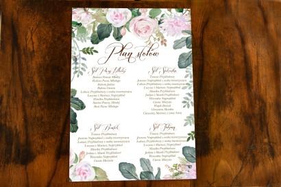 Weselny Plan Stołów w stylu botanicznym z motywem pastelowych, różowych dalii i róż