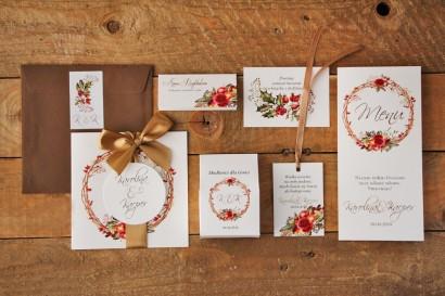 Zestaw próbny zaproszeń ślubnych wraz z dodatkami i podziękowaniami dla gości weselnych. Akwarele nr 3
