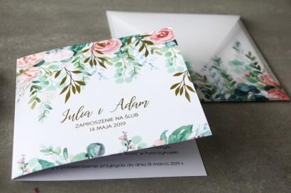 Pastelowe, różowe zaproszenia ślubne ze złoconymi gałązkami w stylu glamour, motyw delikatnych, różowych piwonii z eukaliptusem