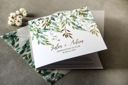 Biało - zielone zaproszenia ślubne z konwalią i złoconymi gałązkami w stylu glamour
