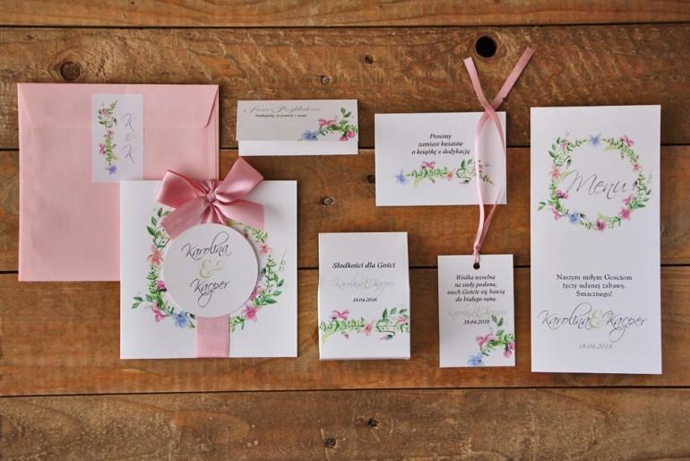 Zestaw próbny zaproszeń ślubnych wraz z dodatkami oraz upominkami dla gości weselnych - Akwarele nr 4