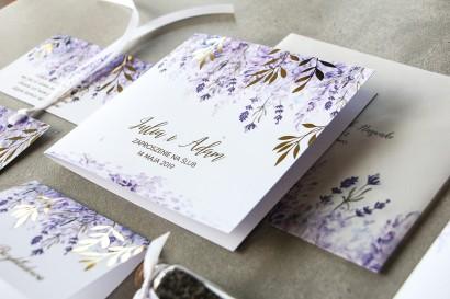 Fioletowe zaproszenia ślubne z wrzosami i złoconymi gałązkami w stylu glamour