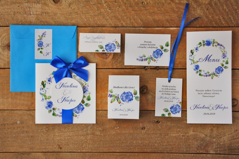 Zestaw próbny zaproszeń ślubnych wraz z dodatkami oraz upominkami dla gości weselnych - Akwarele nr 5