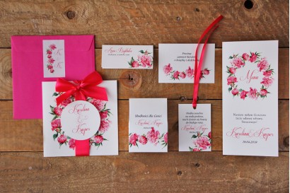 Zestaw próbny zaproszeń ślubnych wraz z dodatkami oraz upominkami dla gości weselnych - Akwarele nr 6