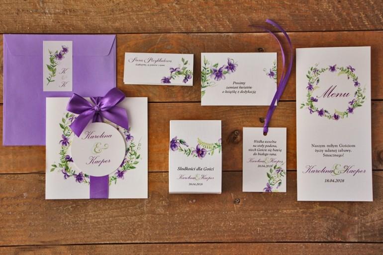 Zestaw próbny zaproszeń ślubnych wraz z dodatkami oraz upominkami dla gości weselnych - Akwarele nr 7