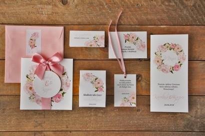 Zestaw próbny zaproszeń ślubnych wraz z dodatkami oraz upominkami dla gości weselnych - Akwarele nr 8