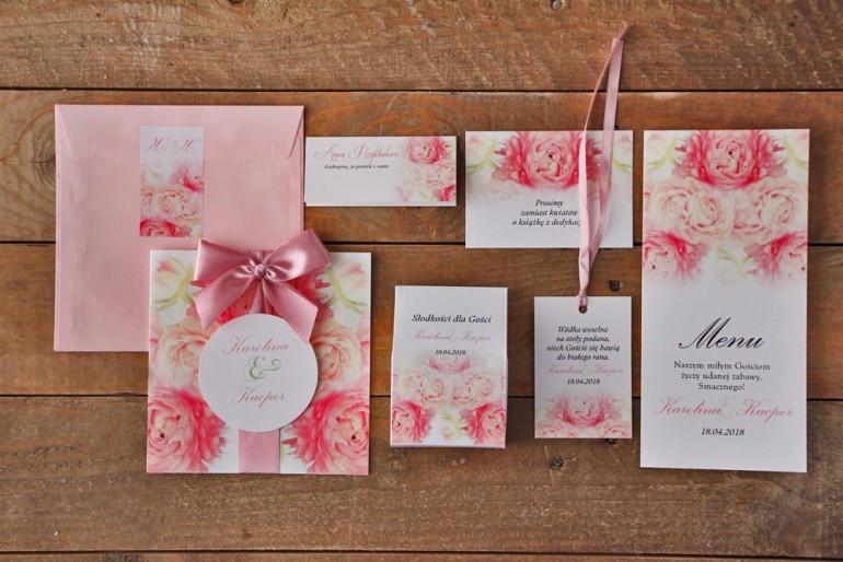 Zestaw próbny zaproszeń ślubnych wraz z dodatkami oraz upominkami dla gości weselnych - Akwarele nr 9