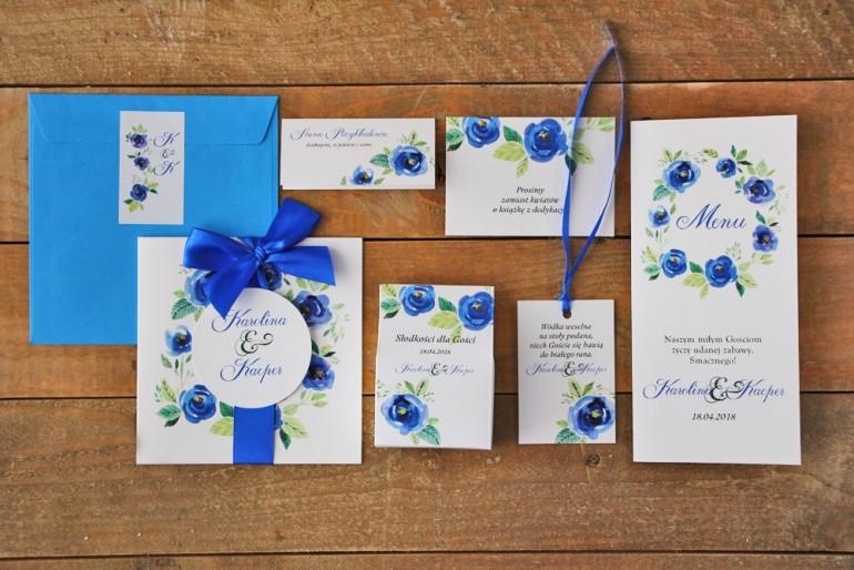 Zestaw próbny zaproszeń ślubnych wraz z dodatkami oraz upominkami dla gości weselnych - Akwarele nr 10