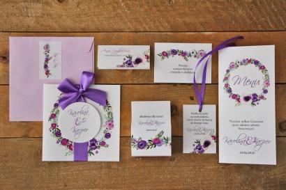 Zestaw próbny zaproszeń ślubnych wraz z dodatkami oraz upominkami dla gości weselnych - Akwarele nr 11