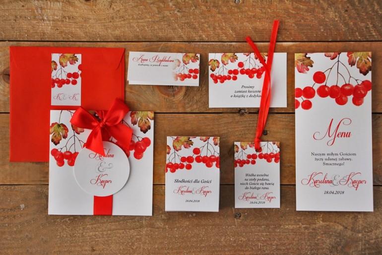 Zestaw próbny zaproszeń ślubnych wraz z dodatkami oraz upominkami dla gości weselnych - Akwarele nr 12