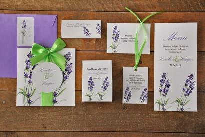 Zestaw próbny zaproszeń ślubnych wraz z dodatkami oraz upominkami dla gości weselnych - Akwarele nr 14