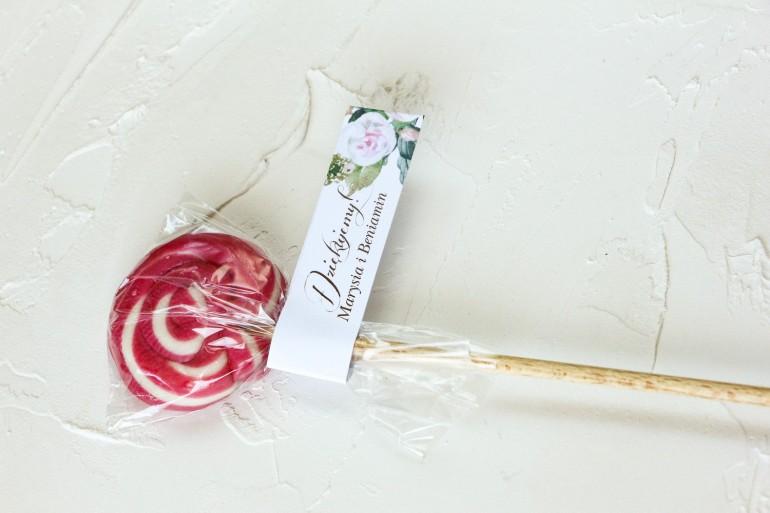 Lizaki - słodkie podziękowania dla gości weselnych. Przywieszka z motywem pastelowych, różowych dalii i róż