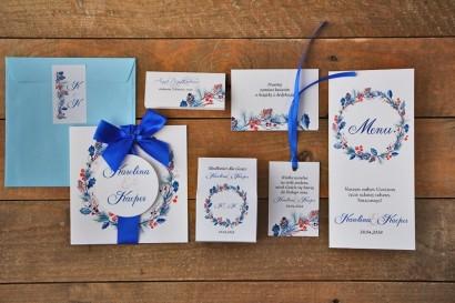 Zestaw próbny zaproszeń ślubnych wraz z dodatkami oraz upominkami dla gości weselnych - Akwarele nr 15