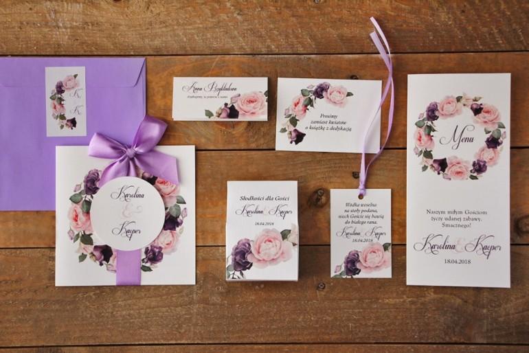Zestaw próbny zaproszeń ślubnych wraz z dodatkami oraz upominkami dla gości weselnych - Akwarele nr 16