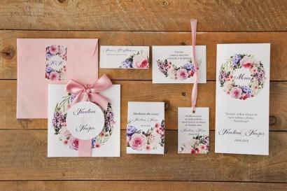 Zestaw próbny zaproszeń ślubnych wraz z dodatkami oraz upominkami dla gości weselnych - Akwarele nr 17