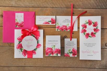 Zestaw próbny zaproszeń ślubnych w kolorowej kopercie wraz z dodatkami oraz upominkami dla gości weselnych - Akwarele nr 18