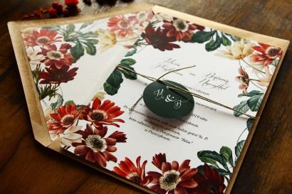 Jednokartkowe botaniczne zaproszenia ślubne z motywem bordowych i burgundowych stokrotek afrykańskich