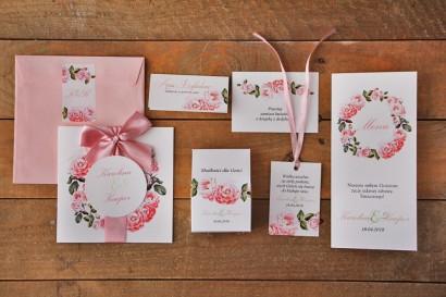 Zestaw próbny zaproszeń ślubnych w kolorowej kopercie wraz z dodatkami oraz upominkami dla gości weselnych - Akwarele nr 19
