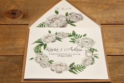 Zaproszenie ślubne eleganckie kwiatowe - Kalia nr 8 - Białe piwonie