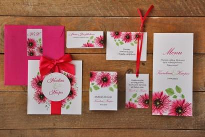 Zestaw próbny zaproszeń ślubnych w kolorowej kopercie wraz z dodatkami oraz upominkami dla gości weselnych - Akwarele nr 20