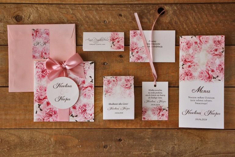 Zestaw próbny zaproszeń ślubnych w kolorowej kopercie wraz z dodatkami oraz upominkami dla gości weselnych - Akwarele nr 21